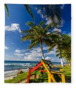 Colorful Bench On Caribbean Coast Fleece Blanket