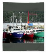 Colorful Boats Tied Up To The Wharf Fleece Blanket