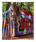 Colorful Box Car In The Forest Fleece Blanket