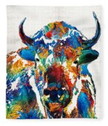 Colorful Buffalo Art - Sacred - By Sharon Cummings Fleece Blanket