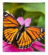 Orange Viceroy Butterfly Fleece Blanket