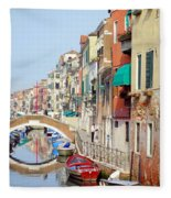 Colorful Canal Fleece Blanket