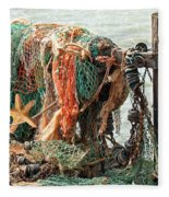 Colorful Catch - Starfish In Fishing Nets Fleece Blanket
