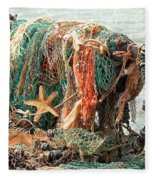 Colorful Catch - Starfish In Fishing Nets Square Fleece Blanket
