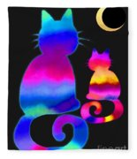Colorful Cats And The Moon Fleece Blanket