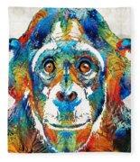 Colorful Chimp Art - Monkey Business - By Sharon Cummings Fleece Blanket