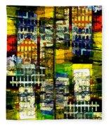 Colorful City Scene Fleece Blanket