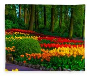 Colorful Corner Of The Keukenhof Garden 4. Tulips Display. Netherlands Fleece Blanket