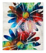 Colorful Daisy Art - Hip Daisies - By Sharon Cummings Fleece Blanket