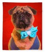 Colorful Dapper Pug Fleece Blanket