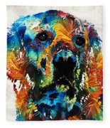 Colorful Dog Art - Heart And Soul - By Sharon Cummings Fleece Blanket