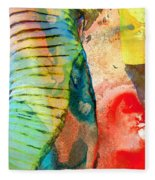 Colorful Elephant Art By Sharon Cummings Fleece Blanket