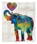 Colorful Elephant Art - Elovephant - By Sharon Cummings Fleece Blanket