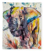 Colorful Elephant Fleece Blanket