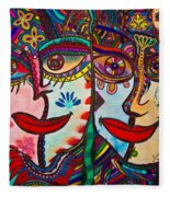 Colorful Faces Gazing - Ink Abstract Faces Fleece Blanket