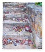 Colorful Fall Leaves Autumn Stone Steps Old Mentone Inn Alabama Fleece Blanket