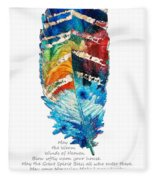 Colorful Feather Art - Cherokee Blessing - By Sharon Cummings Fleece Blanket