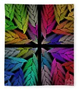 Colorful Feather Fern - 4 X 4 - Abstract - Fractal Art - Square Fleece Blanket
