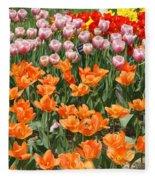 Colorful Flower Bed Fleece Blanket