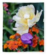 Colorful Flowers Fleece Blanket