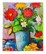 Colorful Flowers From My Garden Fleece Blanket