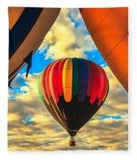 Colorful Framed Hot Air Balloon Fleece Blanket