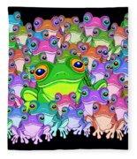 Colorful Froggy Family Fleece Blanket