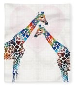 Colorful Giraffe Art - I've Got Your Back - By Sharon Cummings Fleece Blanket