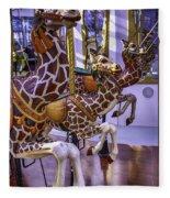Colorful Giraffes Carrousel Fleece Blanket