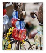 Colorful Glass And Metal Garden Ornaments Fleece Blanket