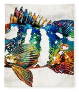 Colorful Grouper 2 Art Fish By Sharon Cummings Fleece Blanket