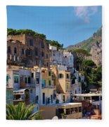 Colorful Houses In Capri Fleece Blanket