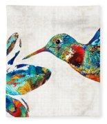 Colorful Hummingbird Art By Sharon Cummings Fleece Blanket