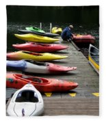 Colorful Kayaks At Whistler Bc Fleece Blanket