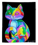 Colorful Kitten Fleece Blanket