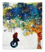 Colorful Landscape Art - The Dreaming Tree - By Sharon Cummings Fleece Blanket