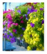 Colorful Large Hanging Flower Plants 1 Fleece Blanket