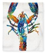 Colorful Lobster Art By Sharon Cummings Fleece Blanket