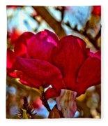 Colorful Magnolia Blossom Fleece Blanket