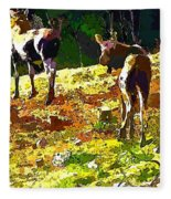 Colorful Moose Fleece Blanket