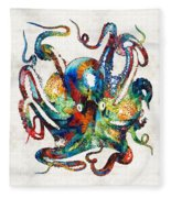 Colorful Octopus Art By Sharon Cummings Fleece Blanket