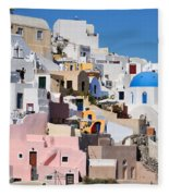 Colorful  Oia Fleece Blanket