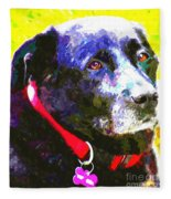 Colorful Old Dog Fleece Blanket