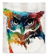 Colorful Owl Art - Wise Guy - By Sharon Cummings Fleece Blanket