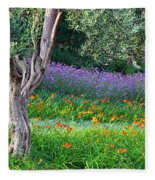 Colorful Park With Flowers Fleece Blanket