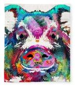 Colorful Pig Art - Squeal Appeal - By Sharon Cummings Fleece Blanket