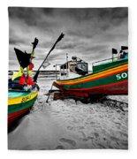 Colorful Retro Ship Boats On The Beach Fleece Blanket
