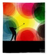 Colorful Retro Silhouette Golfer Fleece Blanket
