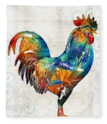 Colorful Rooster Art By Sharon Cummings Fleece Blanket