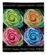 Colorful Rose Spirals Happy Mothers Day Hugs And Kissed Fleece Blanket